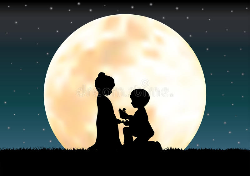 Download L'amour Sous Le Clair De Lune, Illustrations De Vecteur Illustration de Vecteur - Illustration du fille, humeur: 76081161