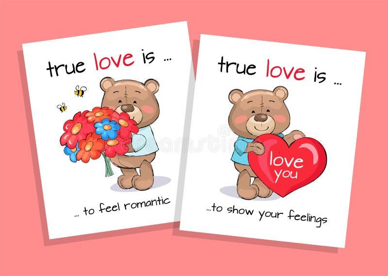 L'amour vrai est sensation romantique et sentiments d'exposition réglés illustration stock