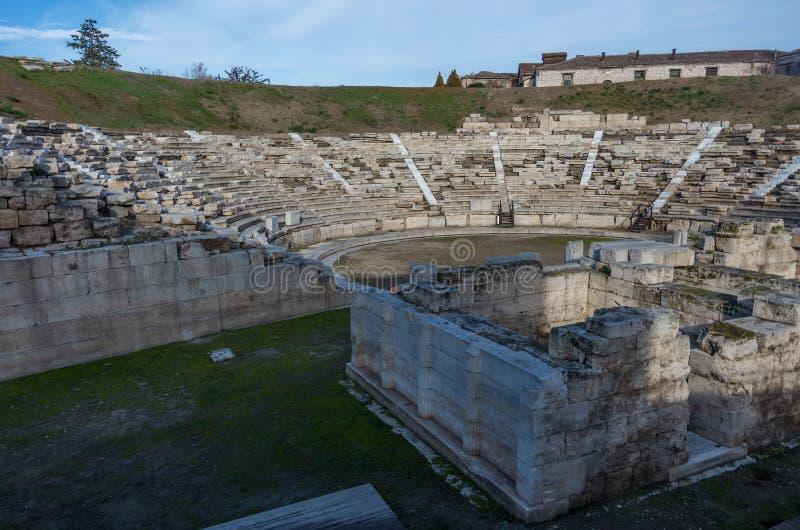 L'amphithéâtre antique dans la ville grecque de Larissa G central photo stock