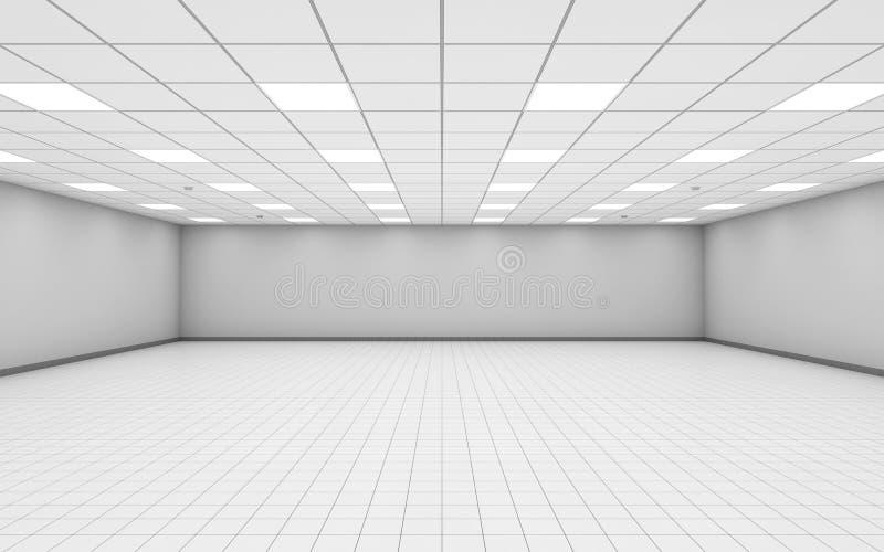 L'ampio interno vuoto della stanza dell'ufficio con bianco mura 3 d royalty illustrazione gratis