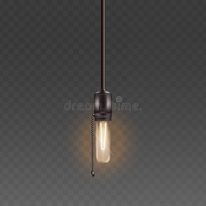L'ampoule électrique ou la lampe en verre sur la corde avec l'illustration réaliste de vecteur de rétro style à chaînes a isolé illustration de vecteur