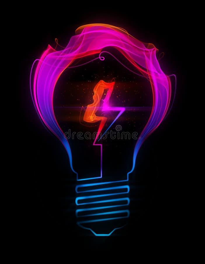 L'ampoule avec le signe électrique a composé de l'abstrait illustration libre de droits
