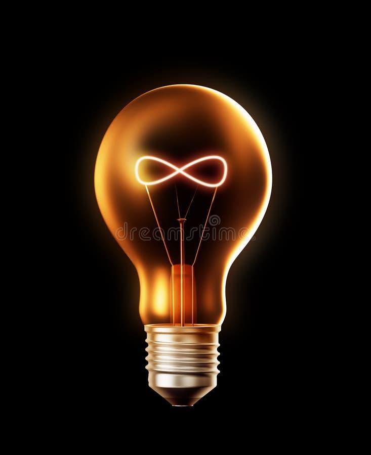L'ampoule avec un filament a formé comme un symbole d'infini illustration de vecteur