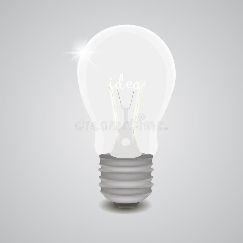 L'ampoule créative réaliste avec le concept d'idée des textes a isolé l'illustration de vecteur illustration de vecteur