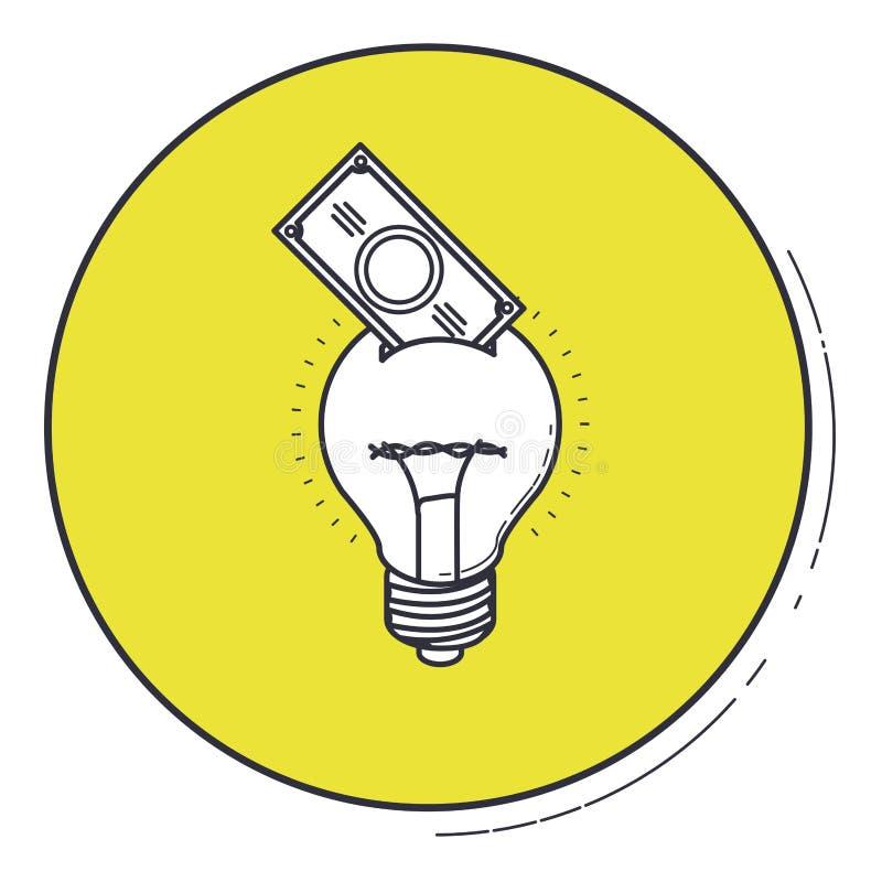 L'ampoule et la facture à l'intérieur du bouton vert conçoivent illustration libre de droits