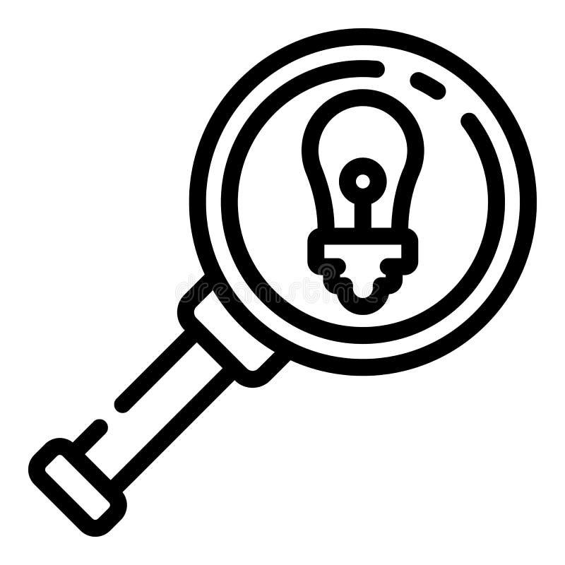 L'ampoule magnifient dessous l'icône en verre, style d'ensemble illustration libre de droits