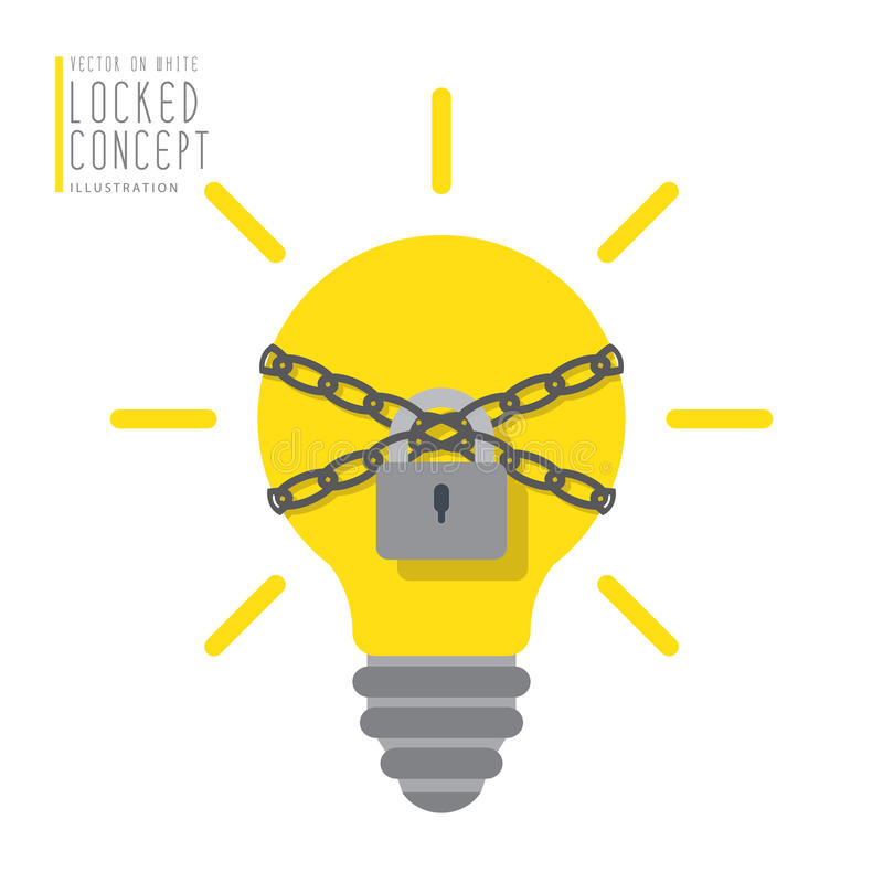 L'ampoule sont liées avec des chaînes et fermées à clef avec un appartement de cadenas illustration stock