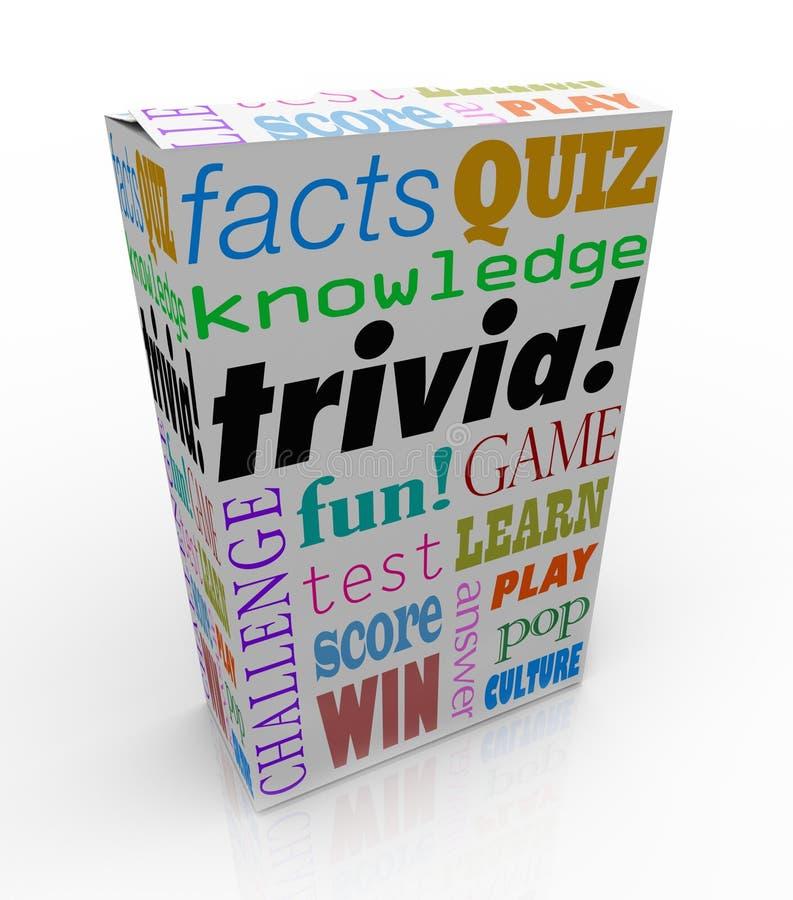 L'amusement de paquet de boîte de jeu de baliverne remet en cause le jeu-concours de la connaissance de réponses illustration stock