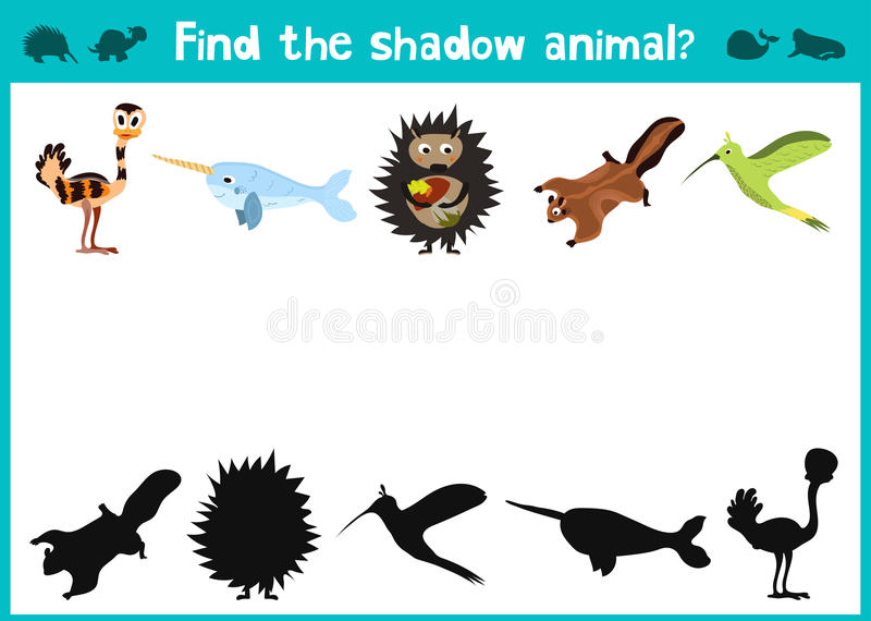 L'amusement et le jeu coloré de puzzle pour le développement d'enfants trouvent où des cerfs communs, une tamia rayée et un poiss illustration de vecteur