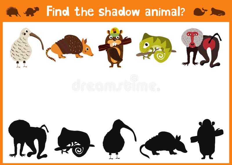 L'amusement et le jeu coloré de puzzle pour le développement d'enfants trouvent où des cerfs communs, une tamia rayée et un poiss illustration stock