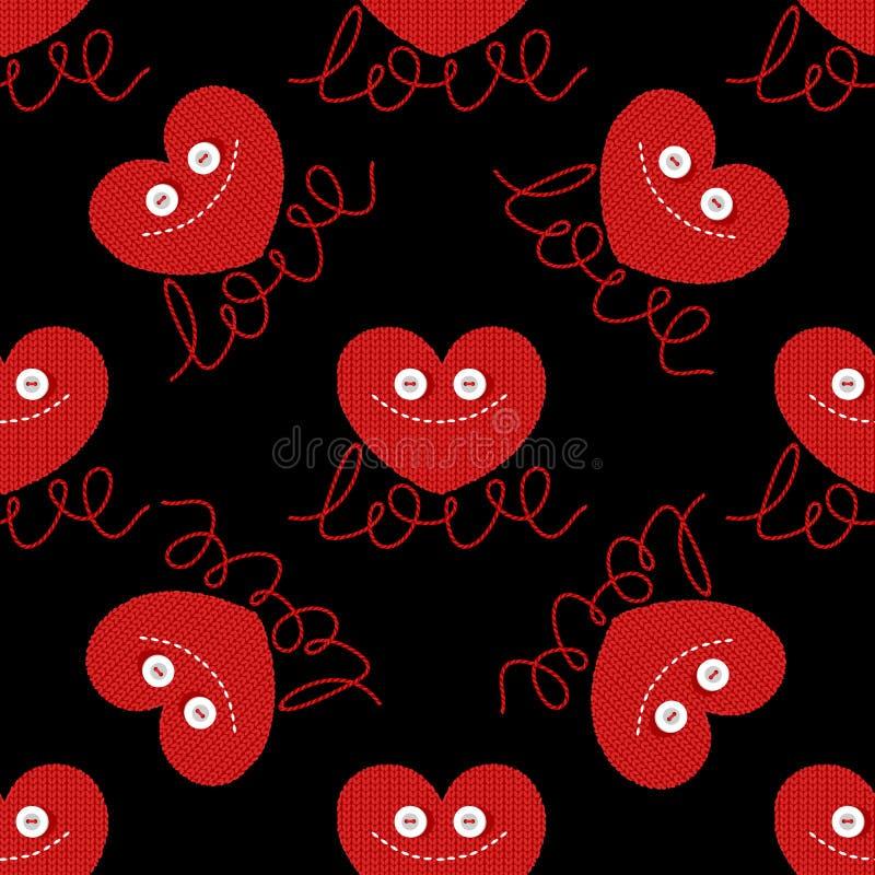 L'amusement a tricoté le coeur pour la conception de jour de valentines Amour valentine Boutons d'oeil image drôle Carte de vacan illustration stock