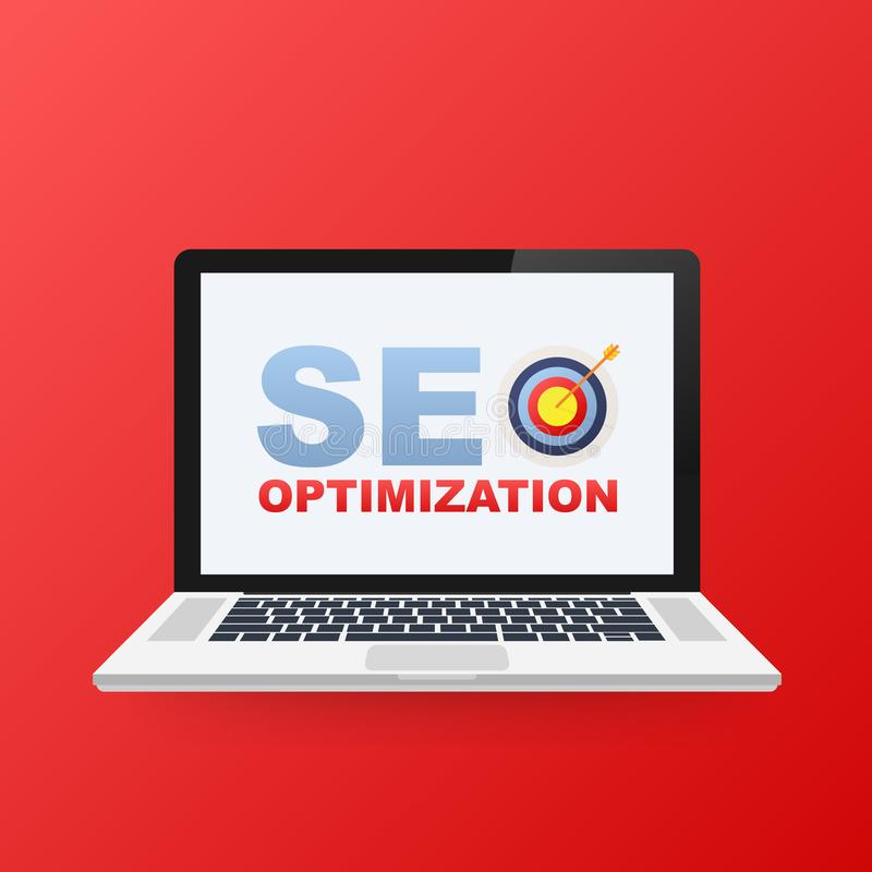 L'analisi dei dati piana di web dell'illustrazione di vettore progetta, icona dell'ottimizzazione di SEO sullo schermo del comput illustrazione vettoriale