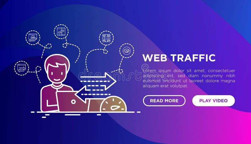 L'analyste de Web surveille la vitesse du trafic de Web et le concept de croissance de ventes avec la ligne mince ic?nes Illustra illustration stock