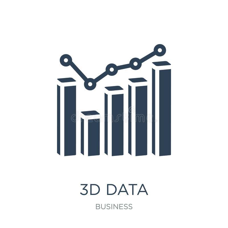 l'analytics des données 3d barre l'icône graphique dans le style à la mode de conception l'analytics des données 3d barre l'icône illustration stock