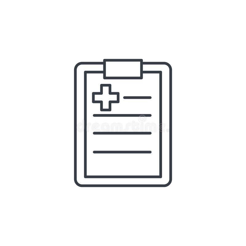 L'anamnesi, diagnostica il risultato, la linea sottile icona di ricetta Simbolo lineare di vettore illustrazione di stock