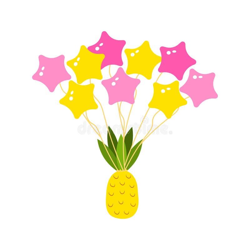 L'ananas et les boules tropicaux dans le ciel volent nourriture de végétarien d'agrume autocollant mignon pour des filles images stock