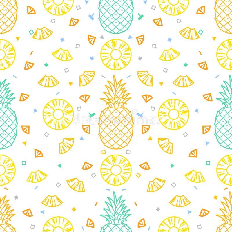 L'ananas porte des fruits format sans couture de vecteur de fond de modèle illustration libre de droits