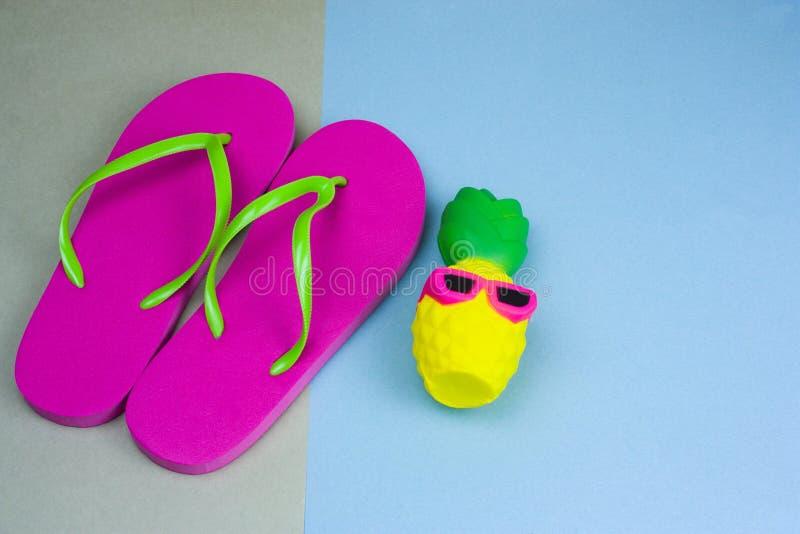 l'ananas sveglio in occhiali da sole ed i Flip-flop rosa su un verde e su un fondo blu, abbigliamento dell'estate hanno messo le  fotografia stock libera da diritti