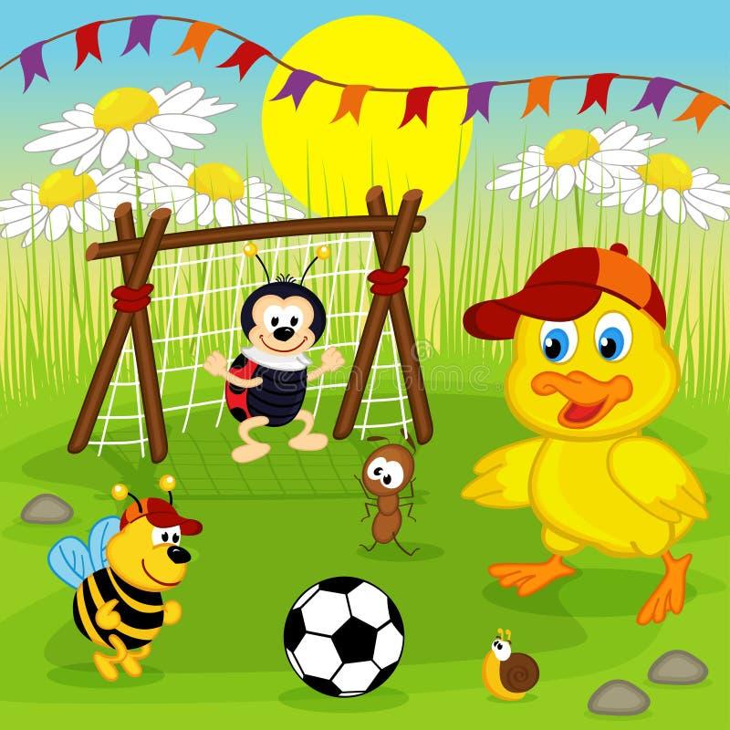 L'anatroccolo e gli insetti giocano a calcio royalty illustrazione gratis