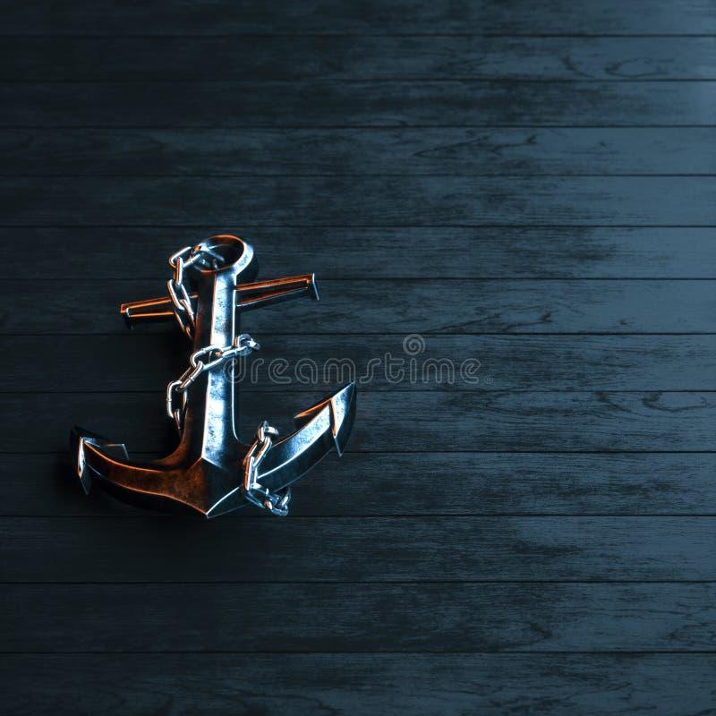 L'ancora del ferro su un fondo di legno dipinto il nero 3d rende royalty illustrazione gratis