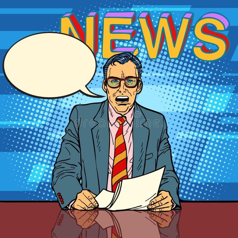 L'ancre masculine d'actualités indique la bulle de bande dessinée illustration de vecteur