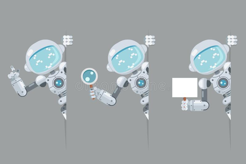 L'androïde de l'adolescence de robot de garçon regardent l'affiche faisante le coin à disposition se dirigeant sur l'intelligence illustration stock