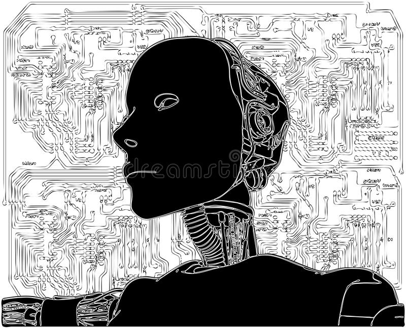 L'androïde indique la technologie interne illustration stock