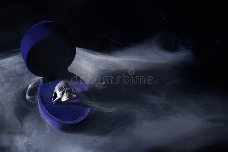 L'anello d'argento ha modellato il cranio dentro un contenitore di gioielli blu fotografia stock