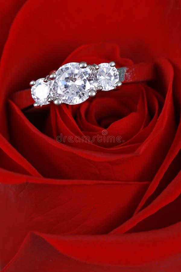 L'anello di diamante nel colore rosso è aumentato immagine stock libera da diritti