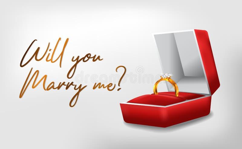 l'anello dorato 3D con l'impegno rosso della scatola propone il modello romantico dell'insegna del manifesto di nozze royalty illustrazione gratis