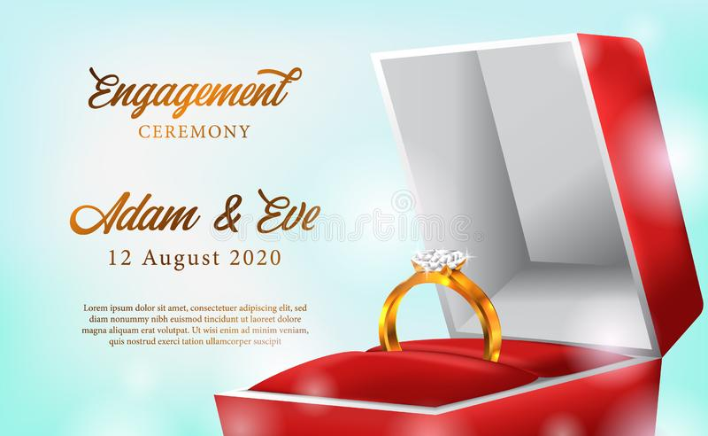 l'anello dorato 3D con l'impegno rosso della scatola propone il modello romantico dell'insegna del manifesto di nozze illustrazione vettoriale