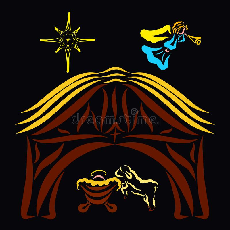 L'ange annonce la naissance du Christ, un hangar avec une mangeoire et une étoile illustration de vecteur