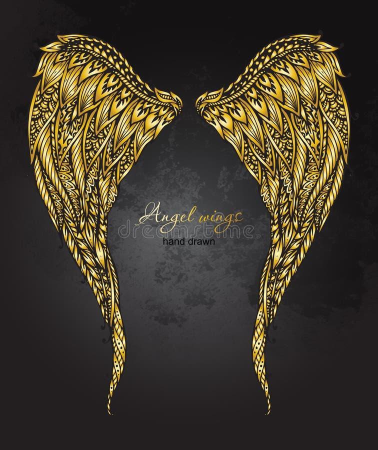 L'ange d'or fleuri tiré par la main de Vetor s'envole dans le style de zentangle illustration de vecteur