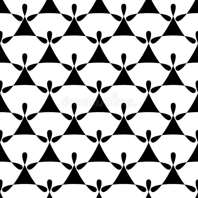 L'ange noir et blanc sans couture s'envole le modèle illustration stock