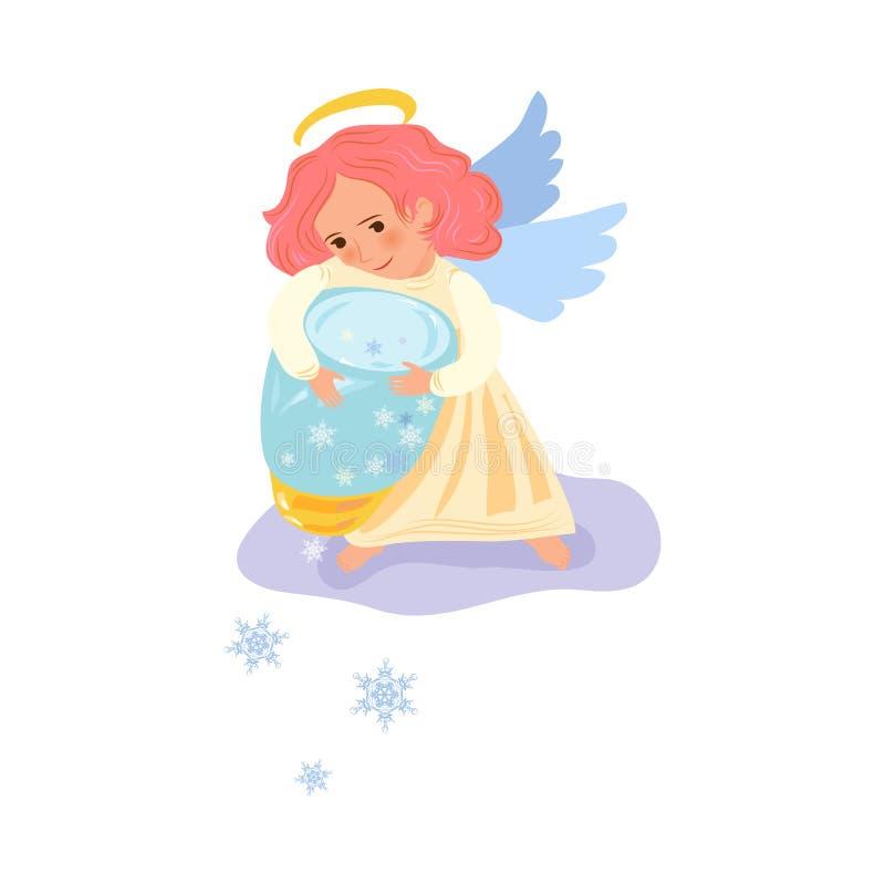 L'ange rouge de fille de cheveux avec les ailes blanches donne des flocons de neige illustration libre de droits