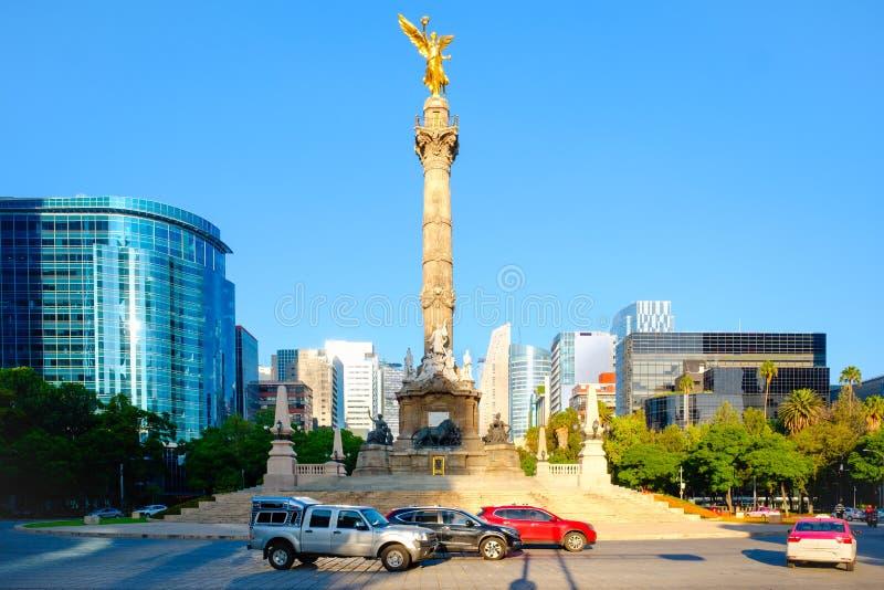 L'angelo di indipendenza a Paseo de la Reforma in Città del Messico fotografie stock libere da diritti