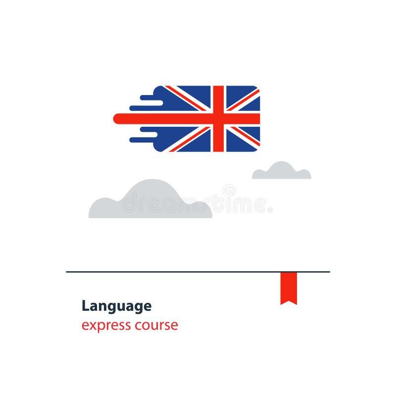 L'anglais chasse le concept de la publicité Langue étrangère parlante fluidee illustration de vecteur