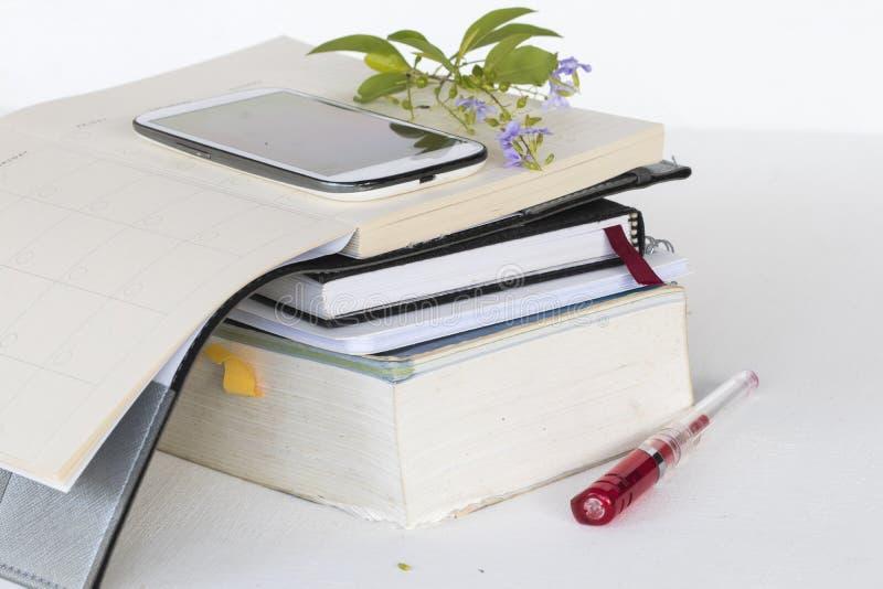 L'anglais de dictionnaire et planificateur de carnet pour l'étude photos libres de droits