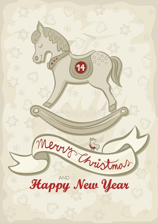 L'anglais de Noël de cheval de basculage souhaite la carte illustration libre de droits