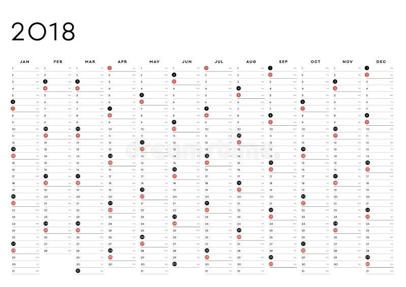 L'anglais du planificateur 2018 d'année illustration stock