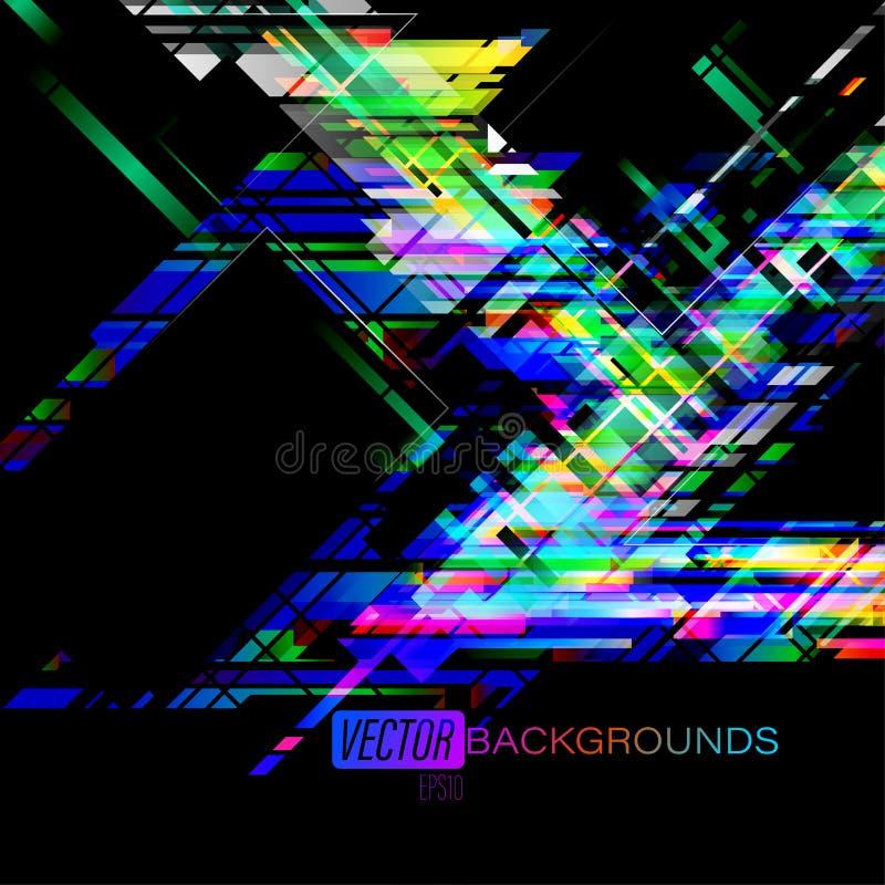 L'angle abstrait de couleurs forme le mouvement sur un noir illustration libre de droits