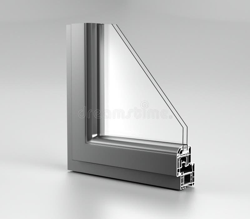 L'angle réaliste a découpé la fenêtre en aluminium moderne H de maison en métal de PVC photographie stock