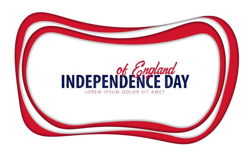 l'angleterre Carte de voeux de Jour de la Déclaration d'Indépendance style de coupe de papier illustration stock