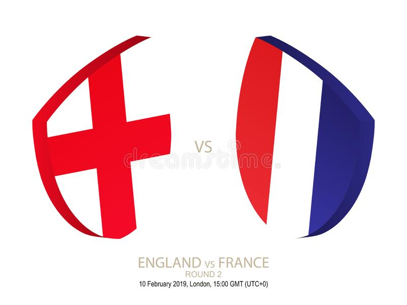 L'Angleterre contre la France, rugby 2019 six championnats de nations, rond 2 illustration de vecteur