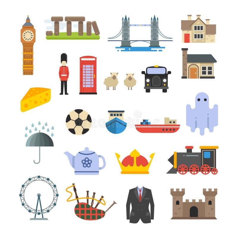 L'Angleterre, les anglais, points de repère britanniques de vecteur réglés illustration stock
