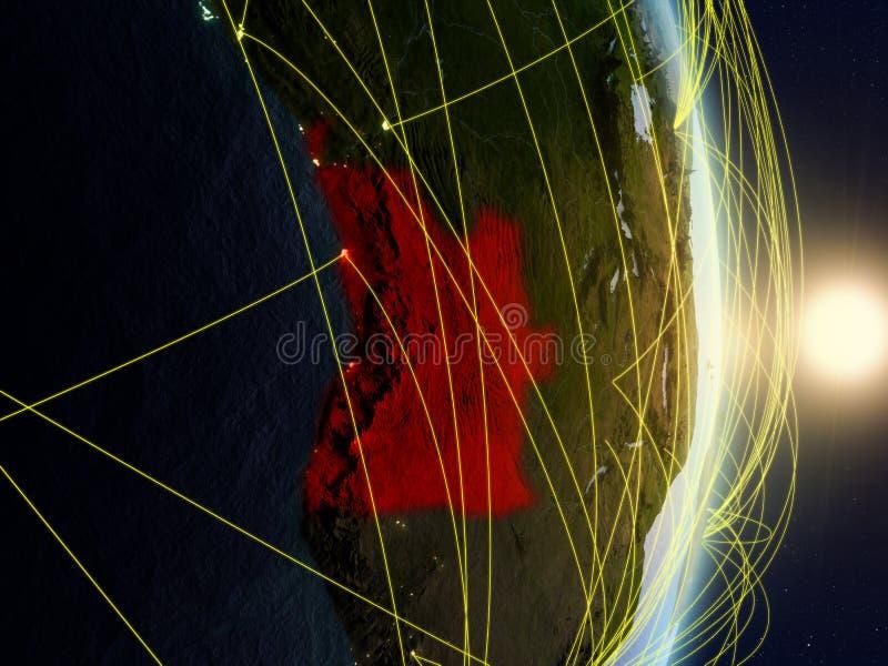 L'Angola sur la terre reliée au réseau de planète photo libre de droits