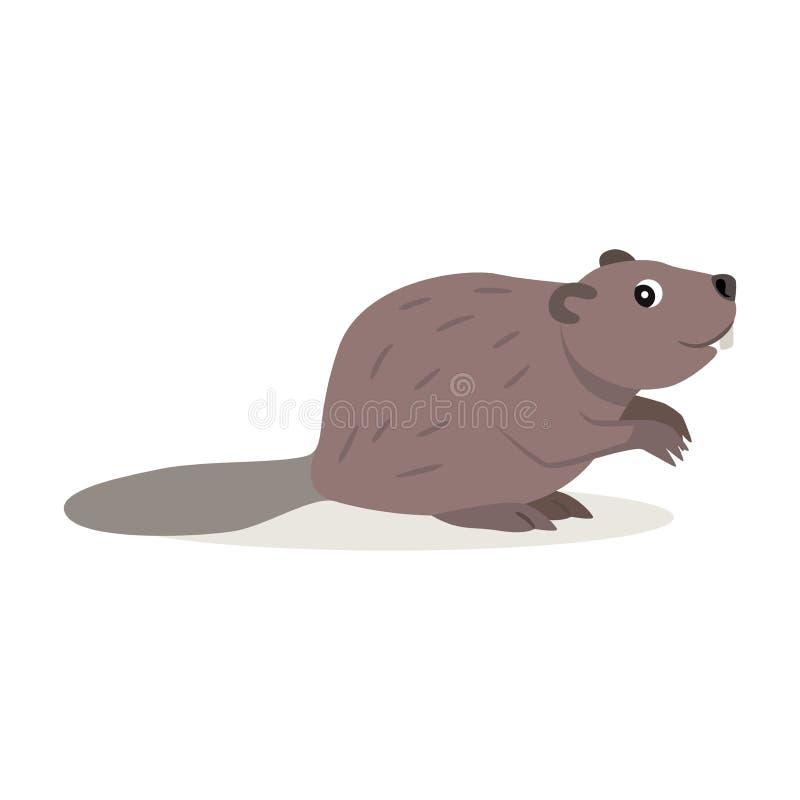 L'animal amical de forêt, icône brune mignonne de castor a isolé illustration de vecteur