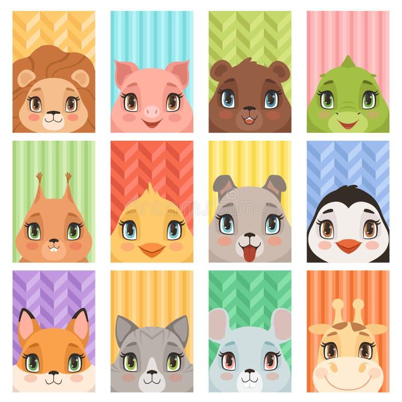 L'animal badine le portrait Les avatars d'animaux de bébé de renard de crocodile de girafe de pingouin de lion avec les oreilles  illustration de vecteur