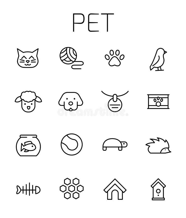 L'animal familier a rapporté l'ensemble d'icône de vecteur illustration de vecteur