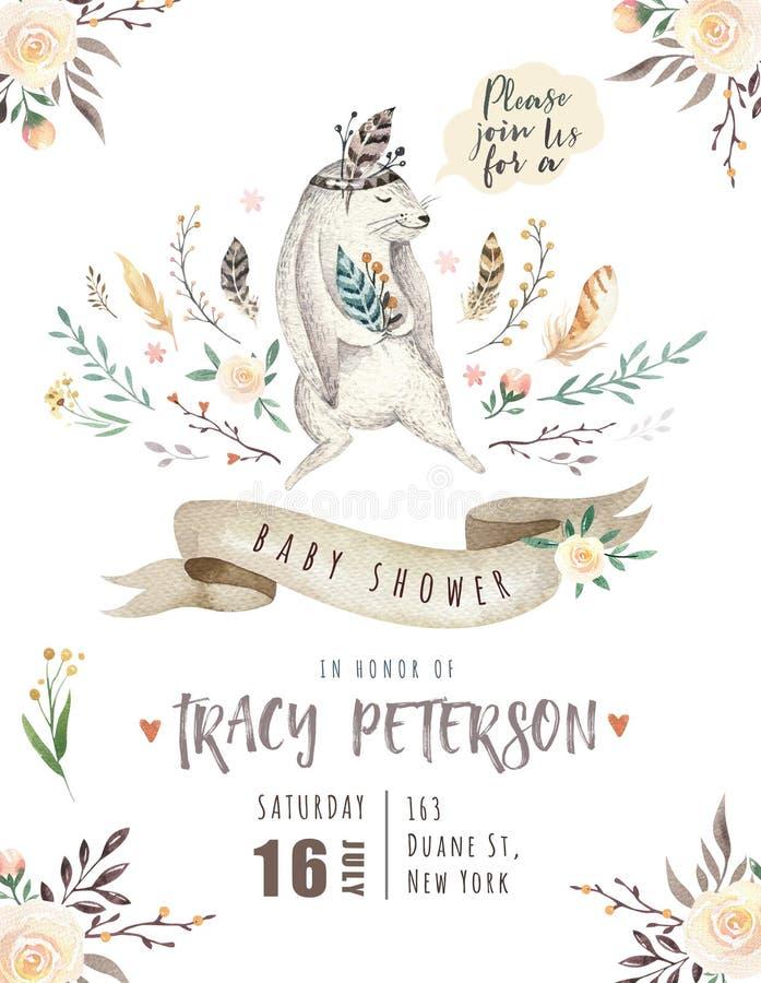 L'animal mignon de lapin de bébé pour le jardin d'enfants, crèche de lapin a isolé l'illustration pour des enfants habillement, m illustration stock